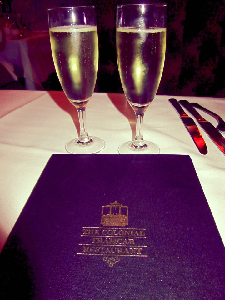 Never an empty glass at the Colonial Tramcar Restaurant, Melbourne