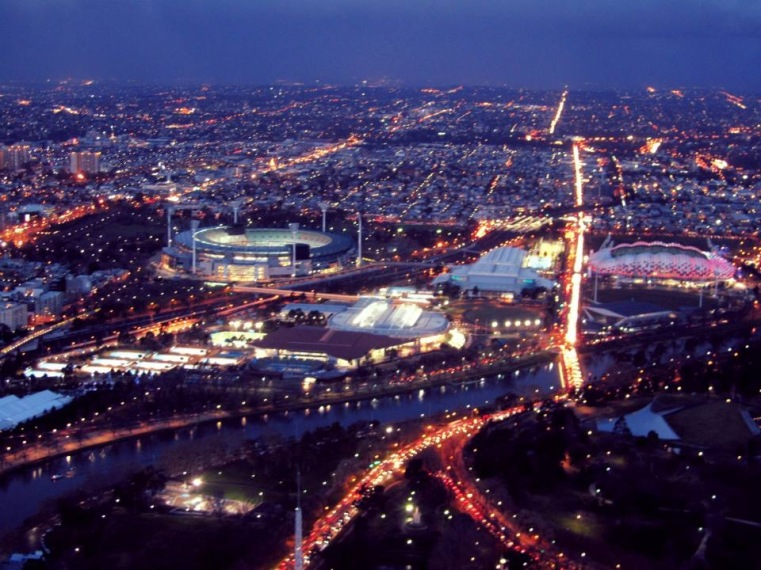 Nighttime ariel view of Melbourne, Australia from Eureka Skydeck 88