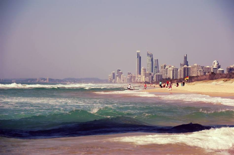 Surfers Paradise from the Southport Spit, Australia