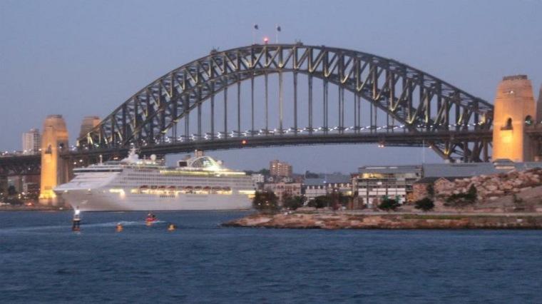 Cruise ship and Sydney Harbour Bridge, Australia