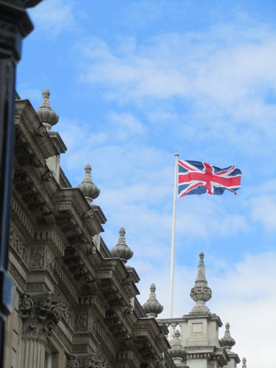 Union Jack flying high in London, England