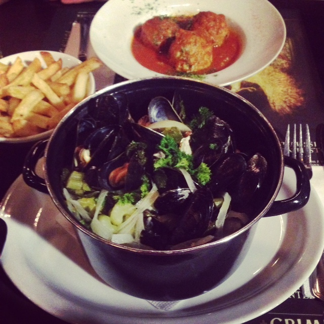 Mussels and meatballs in Brussels, Belgium