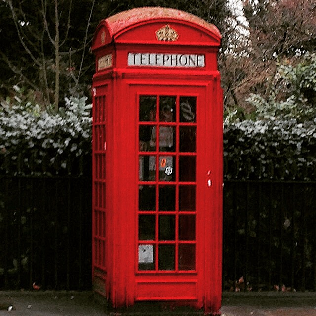 Red telephone box in London, England