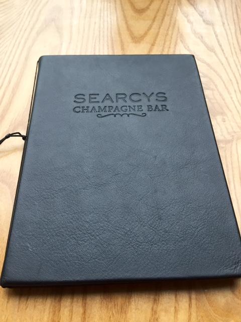 Menu at Searcys Champagne Bar, St Pancras