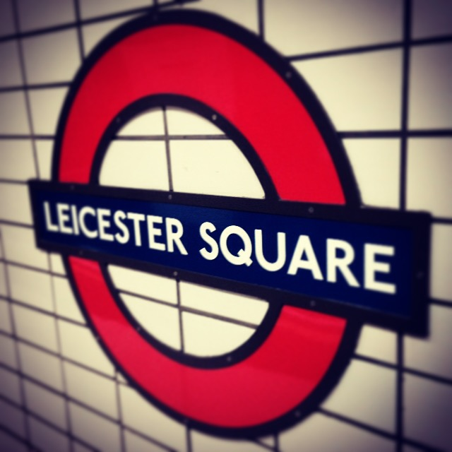 Leicester Square sign on the Underground, London