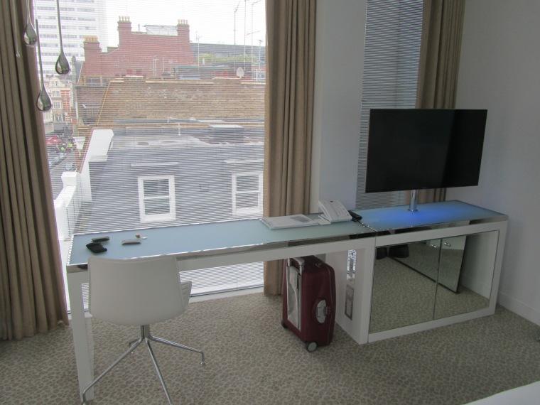 TV and workstation at St Martins Lane Hotel, London