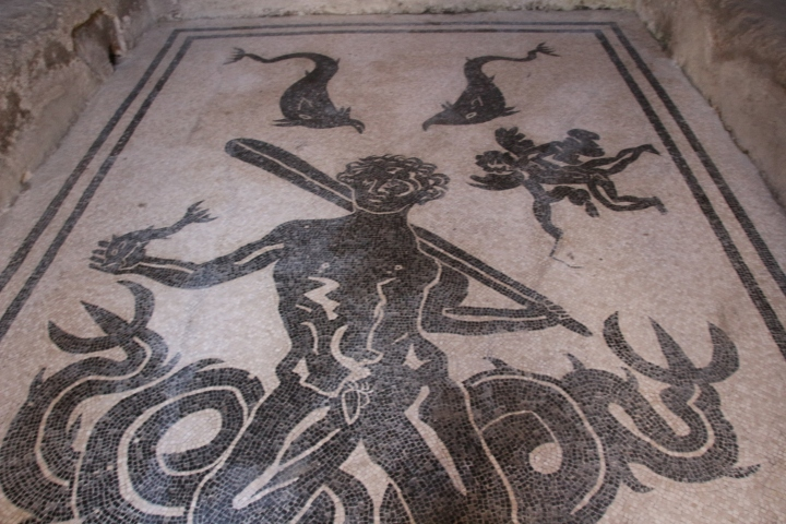 Beautiful mosaic floor in Herculaneum, Italy