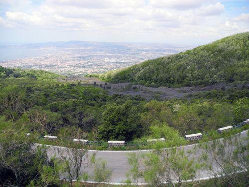 Road leading to Mt Vesuvius, Italy