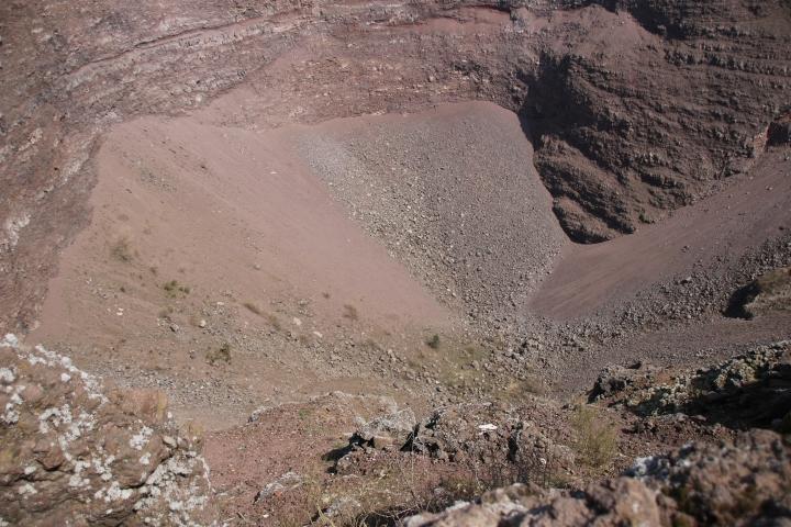 Looking in the crater of Mt Vesuvius, Italy