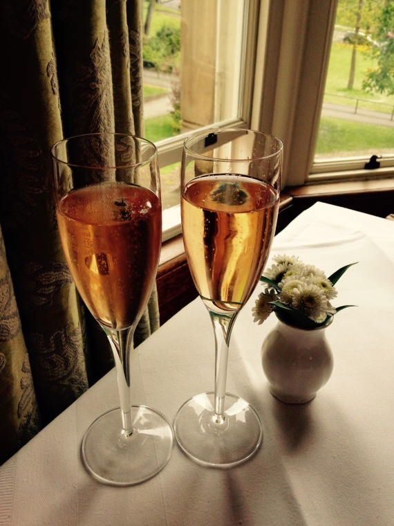 Rose champagne at Betty's tearooms, Harrogate