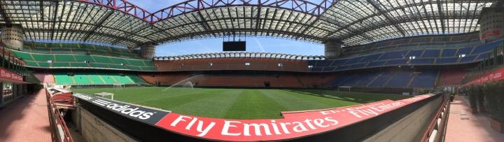 Panoramic shot of the San Siro Stadium, Milan