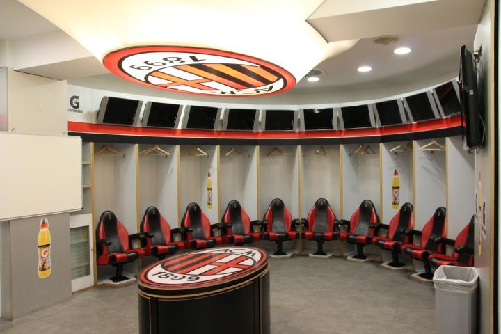 AC Milan changing room at the San Siro Stadium, Milan