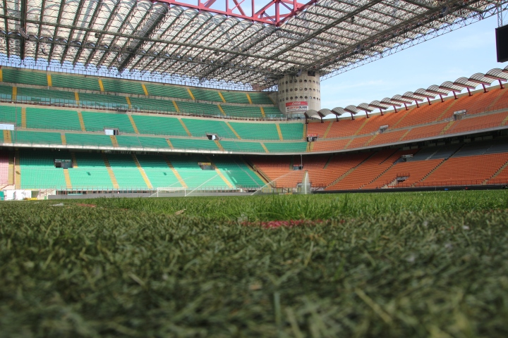 The pitch at the San Siro Stadium, Milan