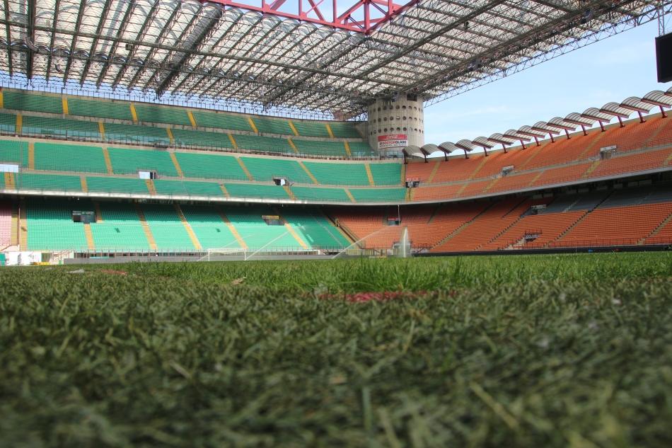 The pitch at the San Siro Stadium, Milan