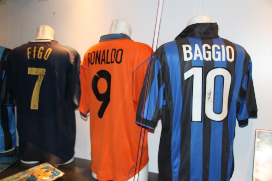 Retro football shirts at the San Siro Stadium, Milan