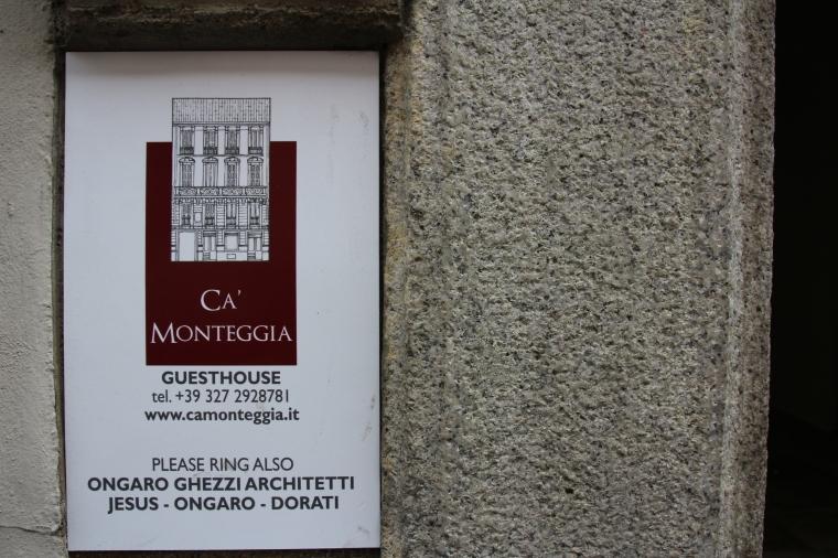 Entrance sign for Ca' Monteggia Guest House, Milan