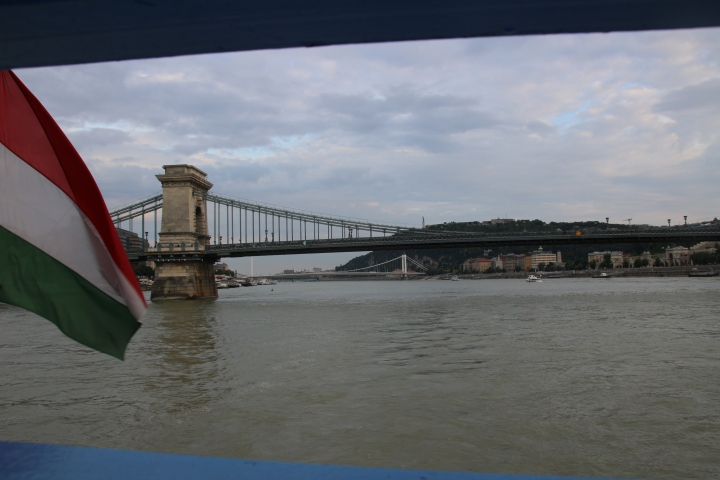 View of the Chain Bridge from the Evening Danube River Cruise, Budapest