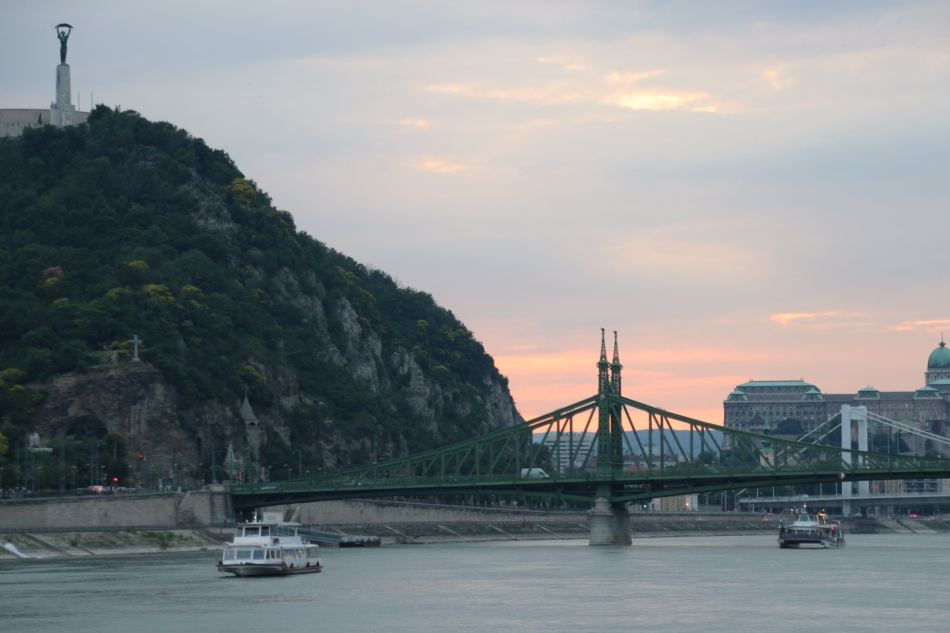 Sunset view of the Liberty Statue and Liberty Bridge from the Evening Danube River Cruise, Budapest