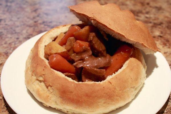 Hungarian meats in sourdough bowl