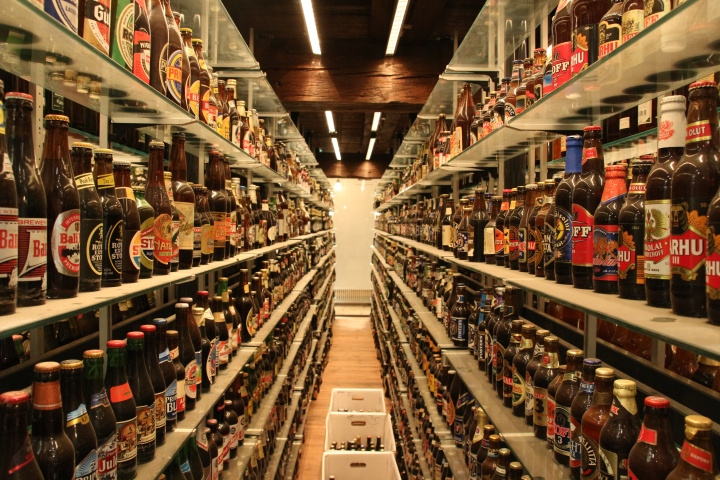 World's largest bottle collection at Visit Carlsberg in Copenhagen, Denmark