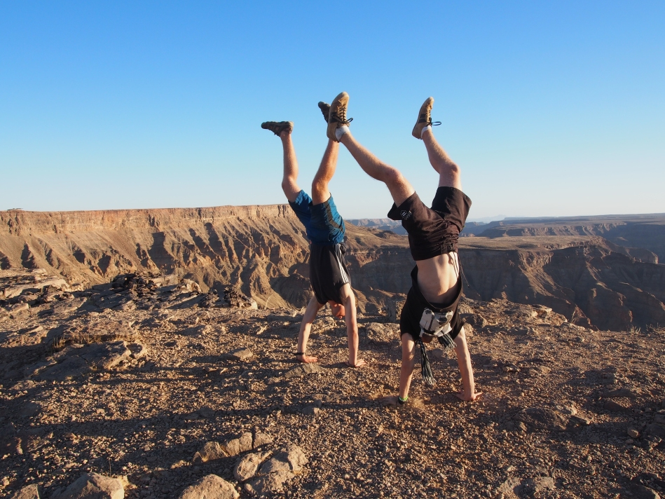 Dom from Everyday's An Adventure Handstand'ing on the Fish River Canyon, Namibia