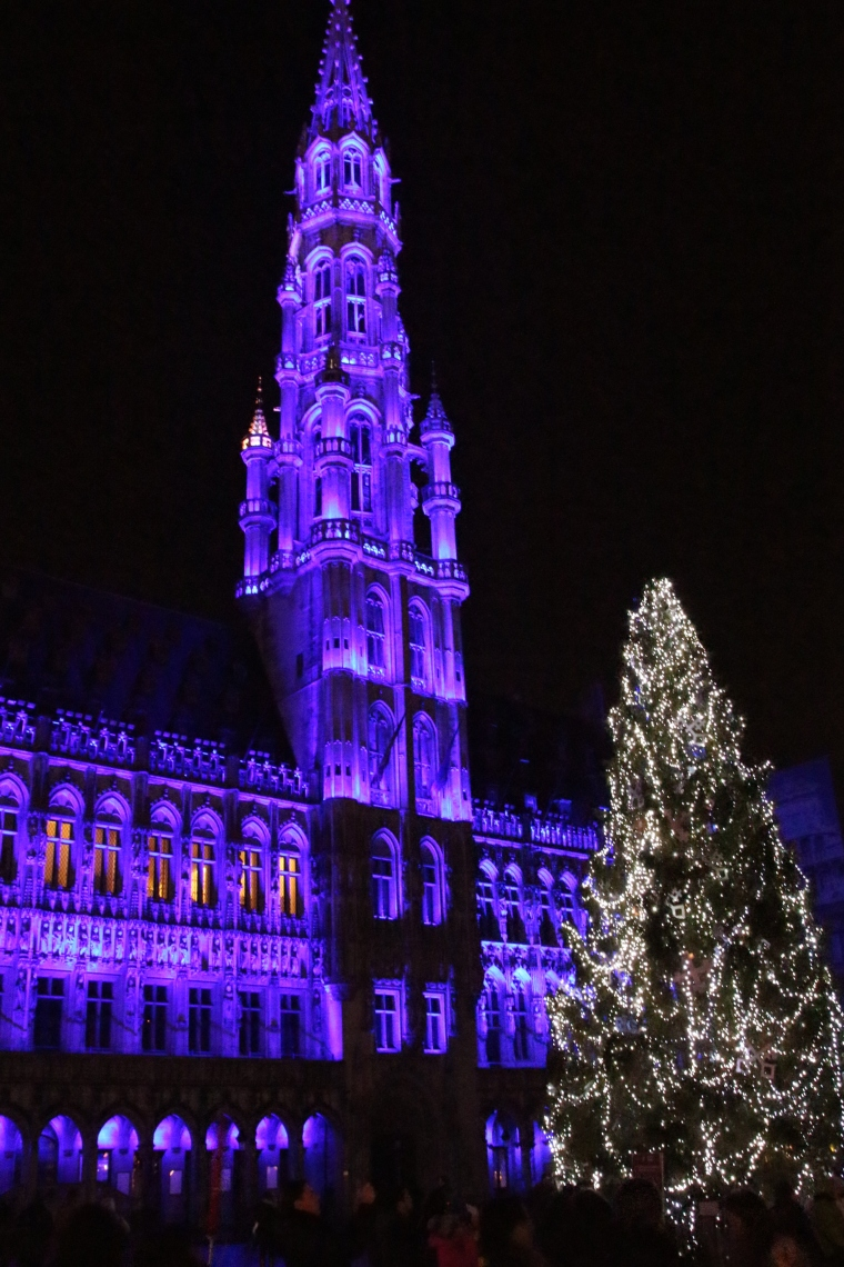 Sound and light show in the Grand Place in Brussels, Belgium