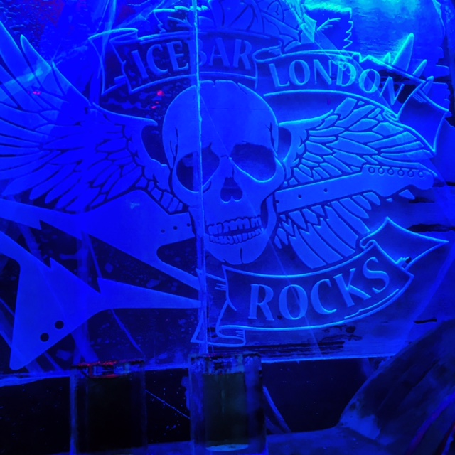 Sign made of ice in the ICEBAR LONDON