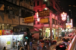 Kowloon street on evening bus tour