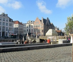 Canal Boat Stop in Ghent, Belgium