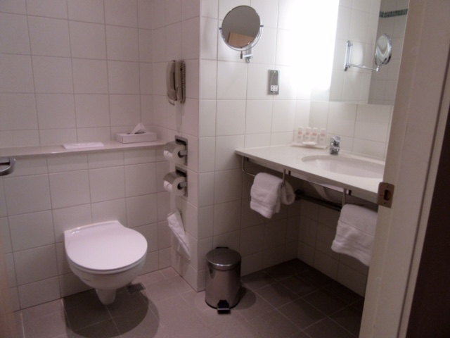 Bathroom in our room at Radisson Blu London Stansted Airport Hotel