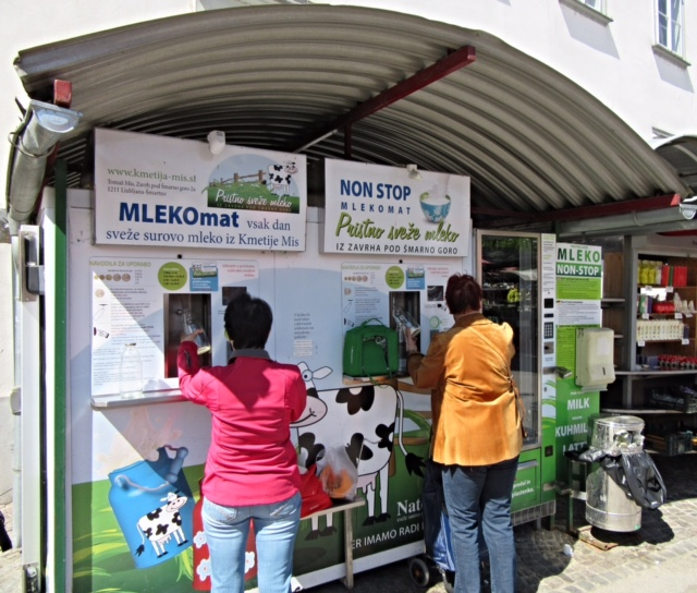 Milk machines in Ljubljana