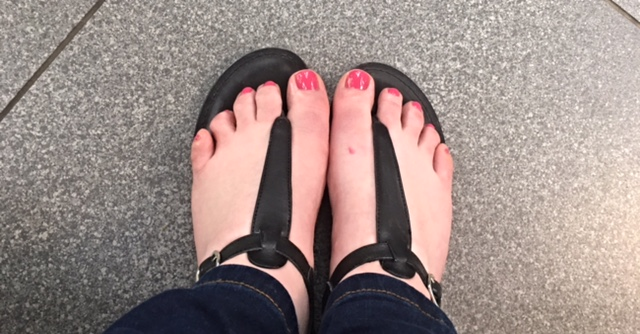 My pretty pink pedi from Cloud Spa at Stansted Airport