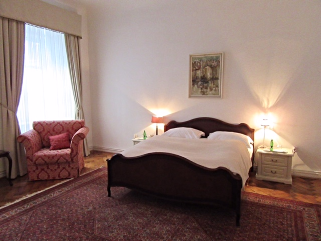 The master bedroom in our suite at the Antiq Palace Hotel & Spa, Ljubljana