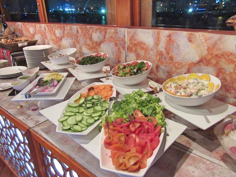 Fresh salads available on Dhow Dinner Cruise, Dubai