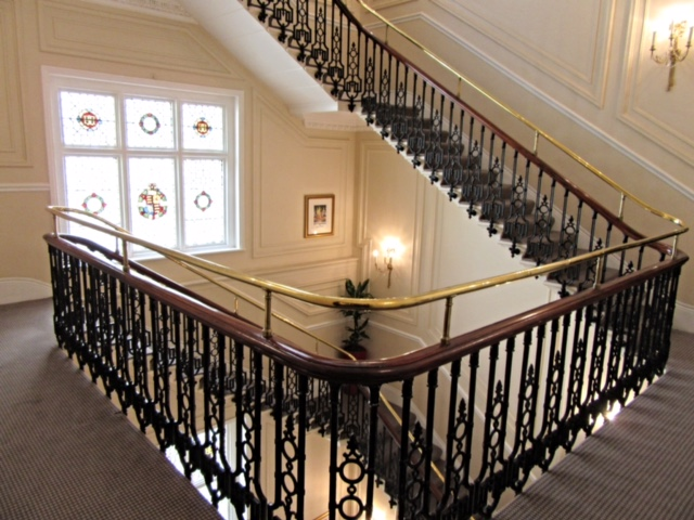 Sweeping spiral staircase at The Bailey's Hotel, London