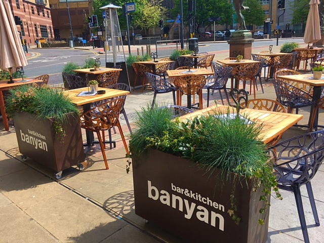 Outside seating area at Banyan Bar & Kitchen, Leeds