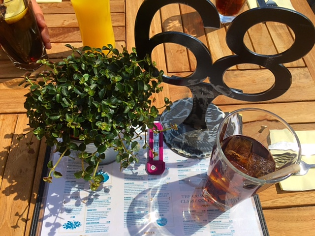 Our table in the sun at Banyan Bar & Kitchen, Leeds