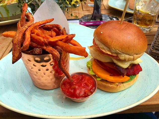 Halloumi burger with sweet potato fries at Banyan Bar & Kitchen, Leeds