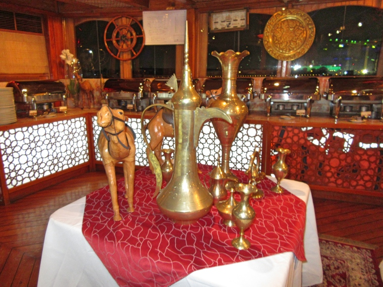 Inside the Dhow on our Dinner Cruise in Dubai