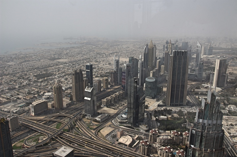 View of hazy Dubai from The Burj Khalifa