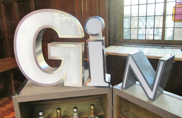 Gin sign at The Gin Festival, Hull
