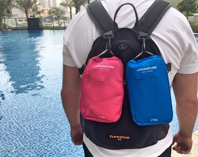 Lifeventure Giant Travel Towels are easy to clip on to our daysack