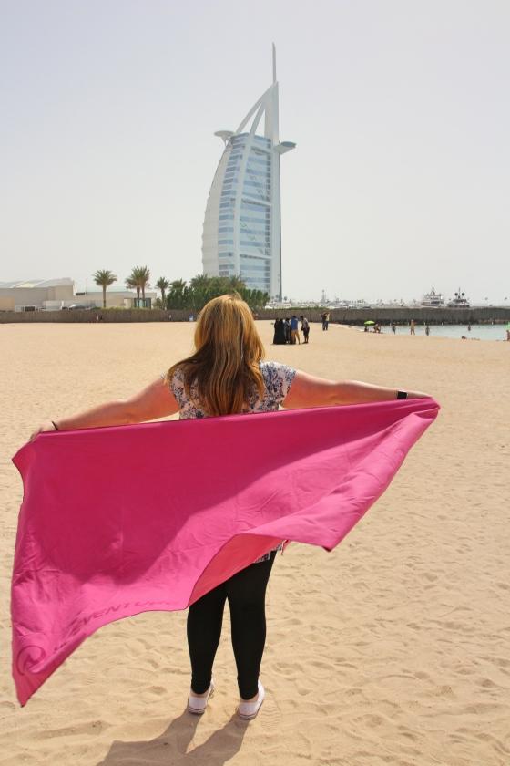 Lifeventure Travel Towel on Jumeirah Beach, Dubai