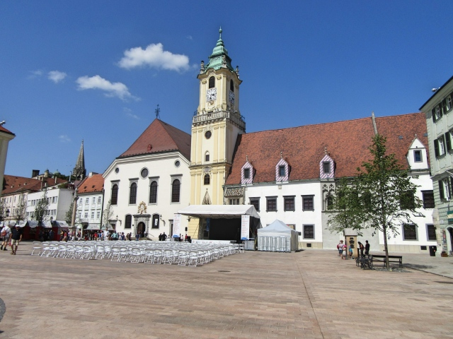 Hlavne Namestie (Main Square) in Bratislava