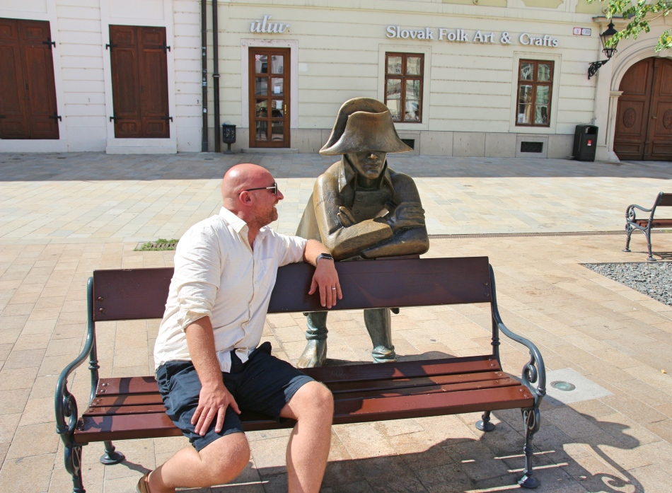 Mr ESLT & one of the many statues around Bratislava