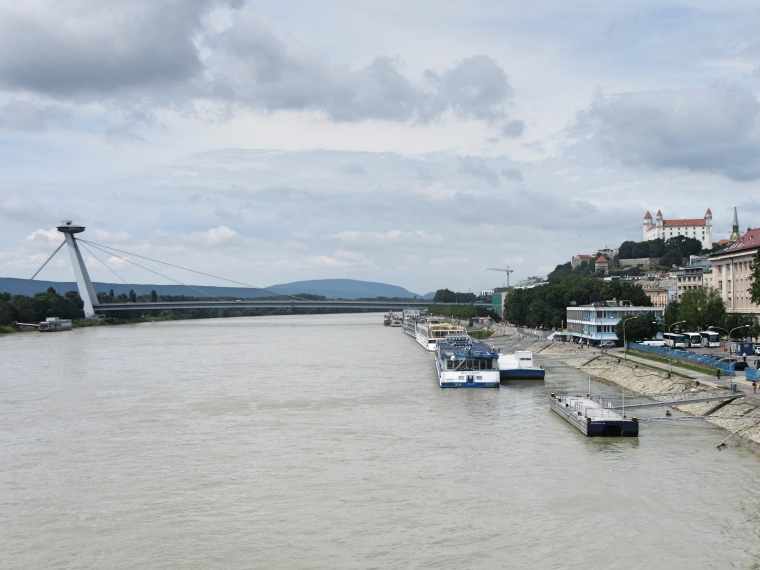 View of the 'UFO', the Danube River and Bratislava