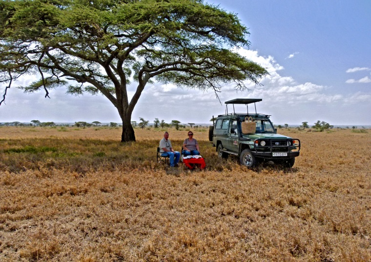 Picnic in the 'middle of nowhere' in the Serengeti