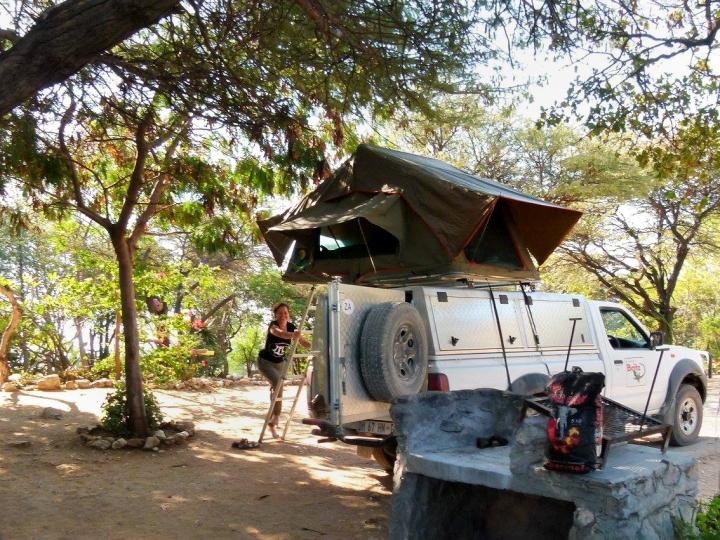 Pop-up tent, Namibia. Photo @Ilona Henriquez, used with permission