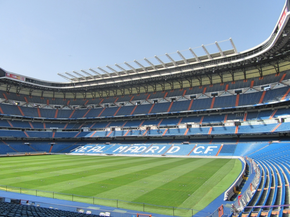 The pitch at the Bernabeu Stadium, Madrid