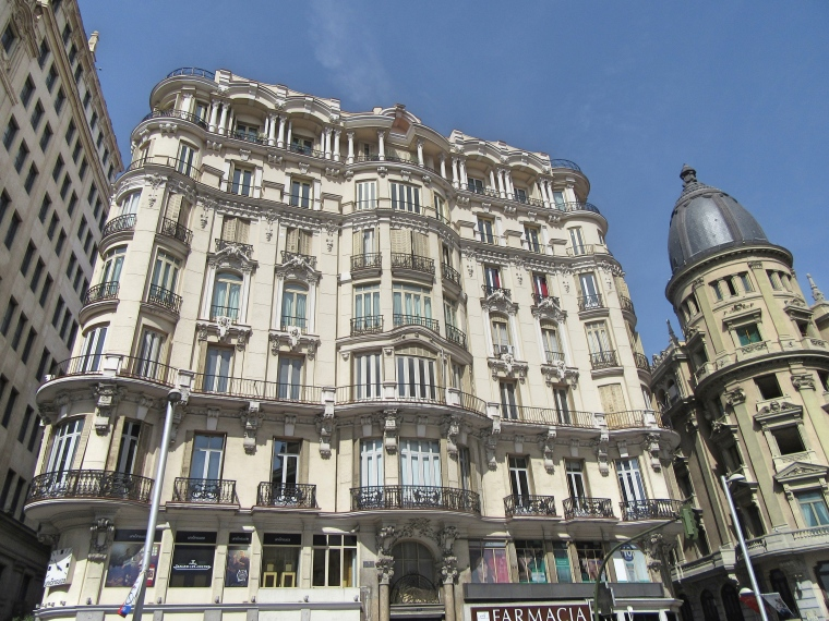 Beautiful Architecture on Grand Vie, Madrid